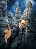 Businessman inviting you to climbing up — Stock Photo