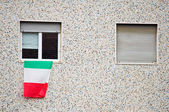 Italian flag on window — Foto de Stock