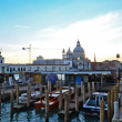 View of the Basilica Santa Maria della Salute in background of the port. — Stock Photo