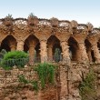 Arcade of stone columns in Park Guell, Barcelona — Stock Photo