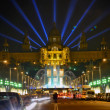 Famous light show in front of the National Art Museum in Barcelona — Stock Photo #5708161