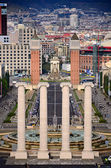 Four columns and Plaza de Espana, view from National Art Museum in Barcelon — Stock Photo