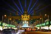 Famous light show in front of the National Art Museum in Barcelona — Stock Photo