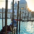Basilica Santa Maria della Salute on sunset, Venice - Stock Photo