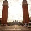 Venetian Towers on Plaza de Espana, Barcelona - Stock Photo