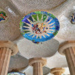 Mosaic details designed by Gaudi, park Guell in Barcelona - Stok fotoraf