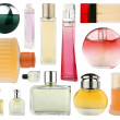 Set of perfume bottles isolated on white - Stock Photo