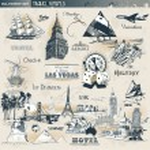 Vintage travel symbols — Stock Vector