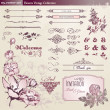 Flowers and vintage elements collection - Stock Vector