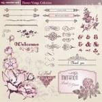květiny a vintage prvky kolekce — Stock vektor
