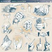 Kolekcja ręce — Wektor stockowy