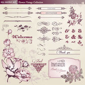 Flowers and vintage elements collection — Wektor stockowy