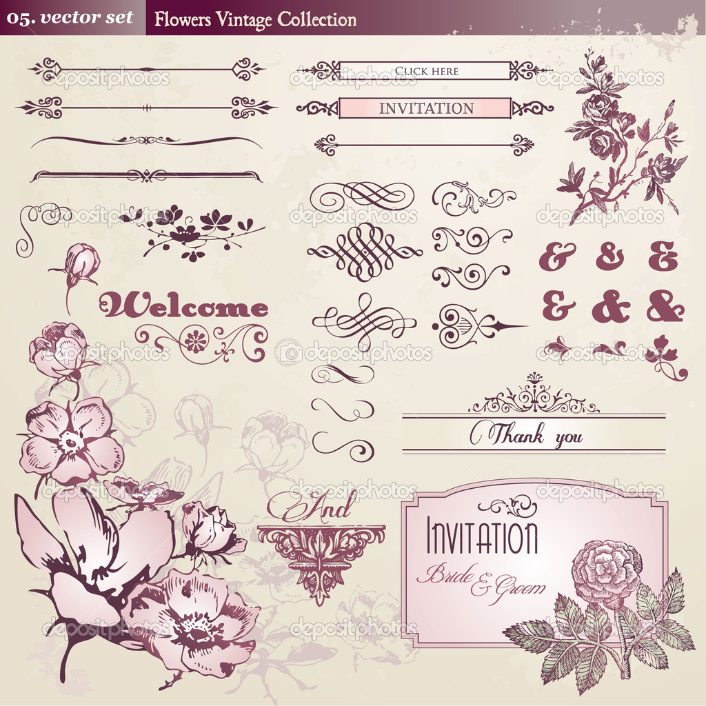 Set of flowers and vintage elements — Stock Vector #5893964