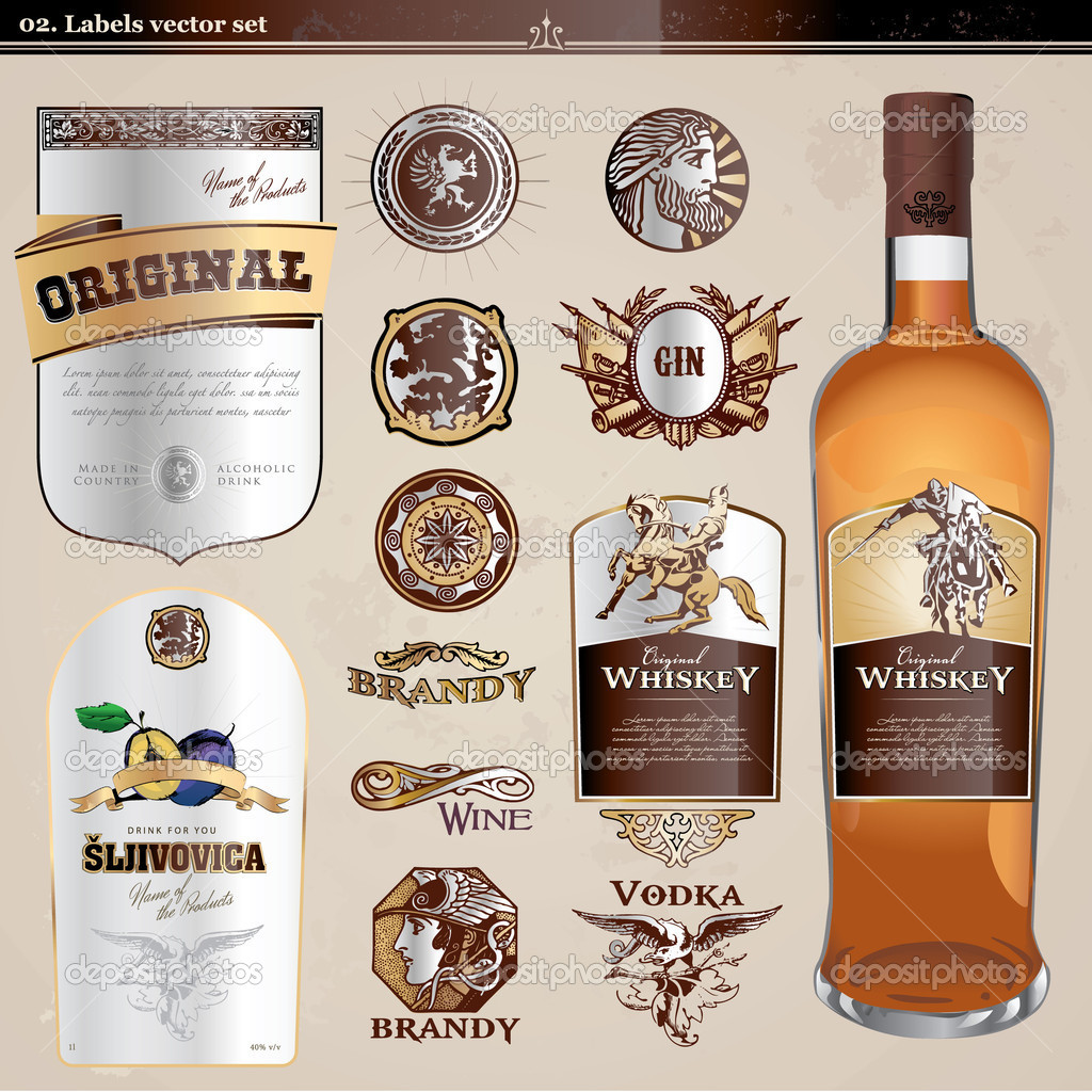 Collection of vector labels for wine and spirits, and a bottle for presentation   Vettoriali Stock  #5958820
