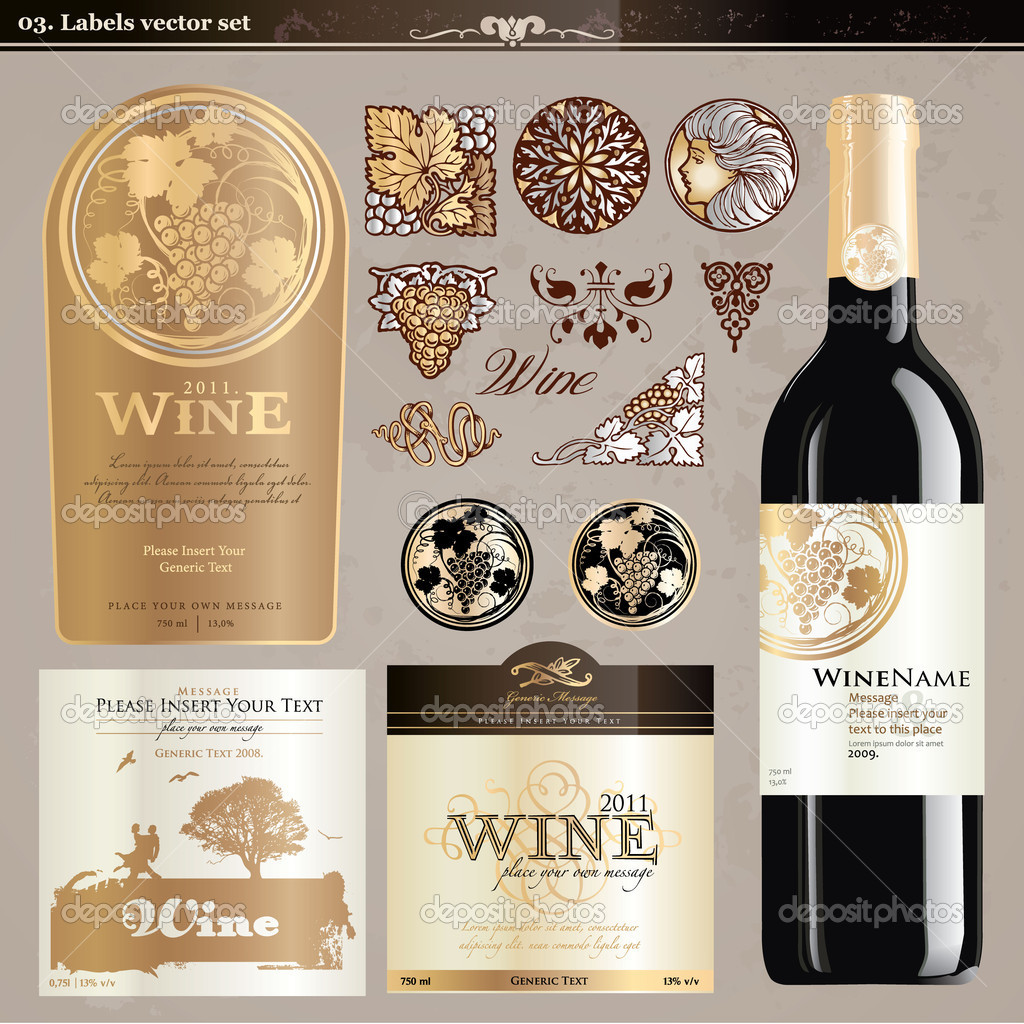 Set of wine labels and elements — Stock Vector #6013372