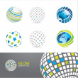 Stock Vector: Set of globe icons