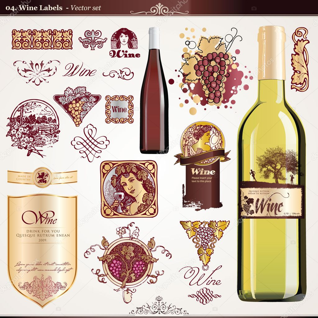 Set of wine labels, elements and bottles  — Stock Vector #6098008