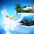 Stock Photo: 3D TV - magical world of nature