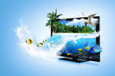 Stock Photo: 3D TV - feel the nature — Foto de Stock