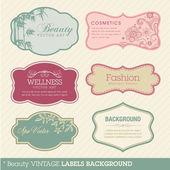 Güzellik vintage etiketleri arka plan — Stok Vektör