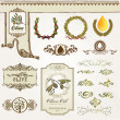 Collection of olive elements — Vector de stock