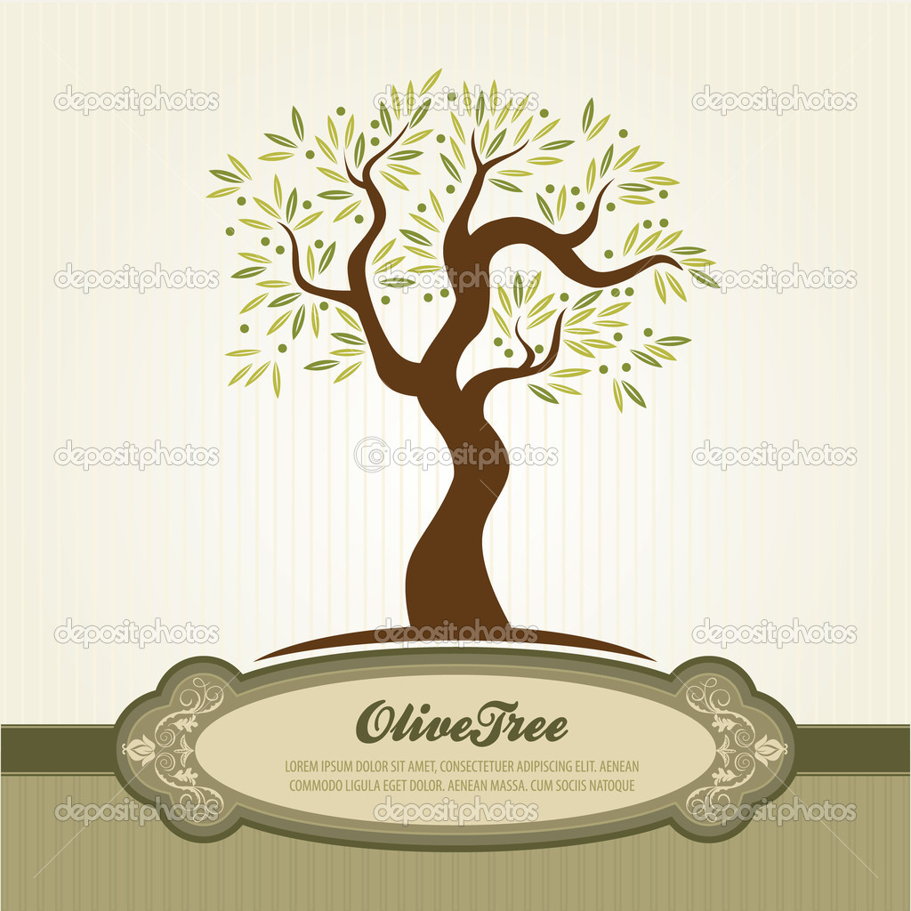 Olive tree vector for label and printed material — Stock Vector #6586747