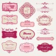 Collection of vintage labels and stickers — Stock Vector