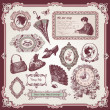Stock Vector: Collection of vintage elements