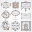 Collection of vintage labels and stickers - Stock Vector
