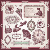 Collection of vintage elements — Stock Vector
