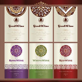 Collection of wine labels — Stock Vector