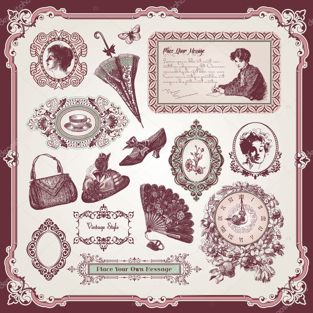 Collection of different vintage elements — Stock Vector #6685570