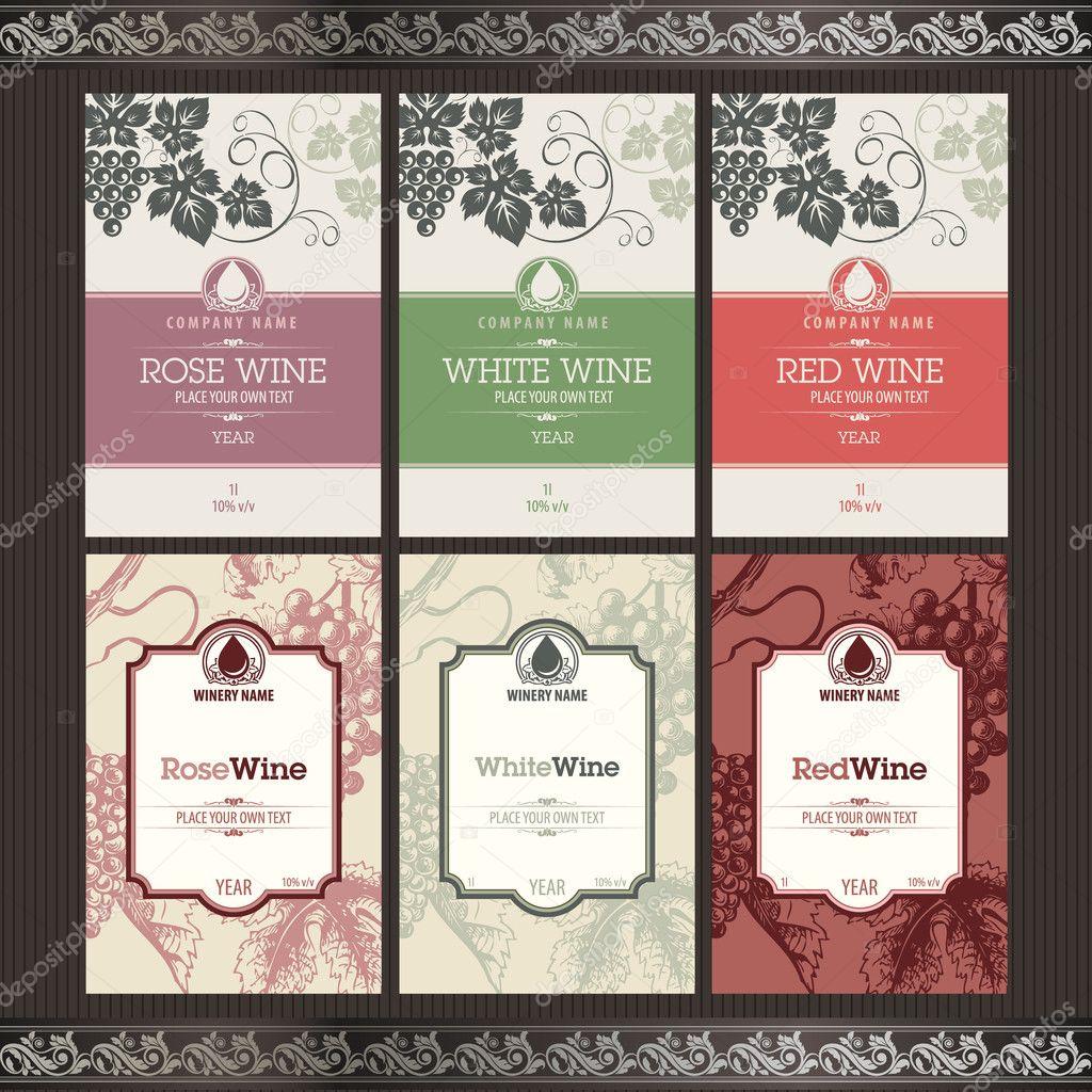 set of wine labels stock vector tanjakrstevska 6686503. Black Bedroom Furniture Sets. Home Design Ideas