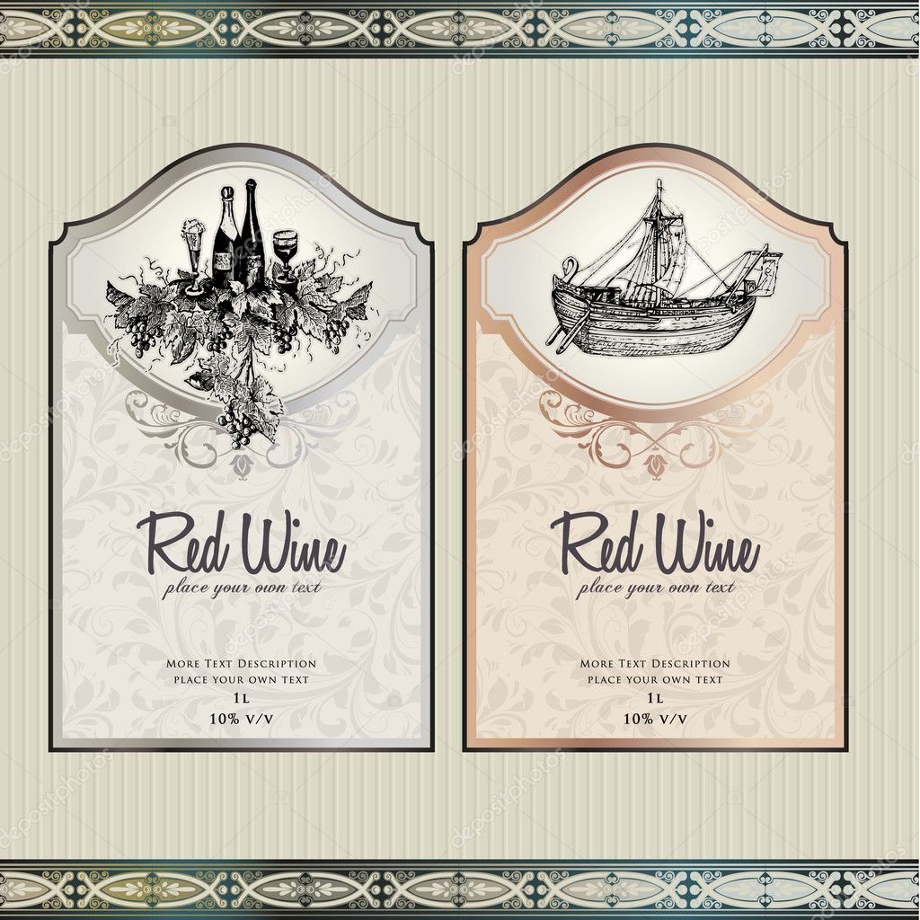 Vector illustration - set of wine label templates — Stock Vector #6686515