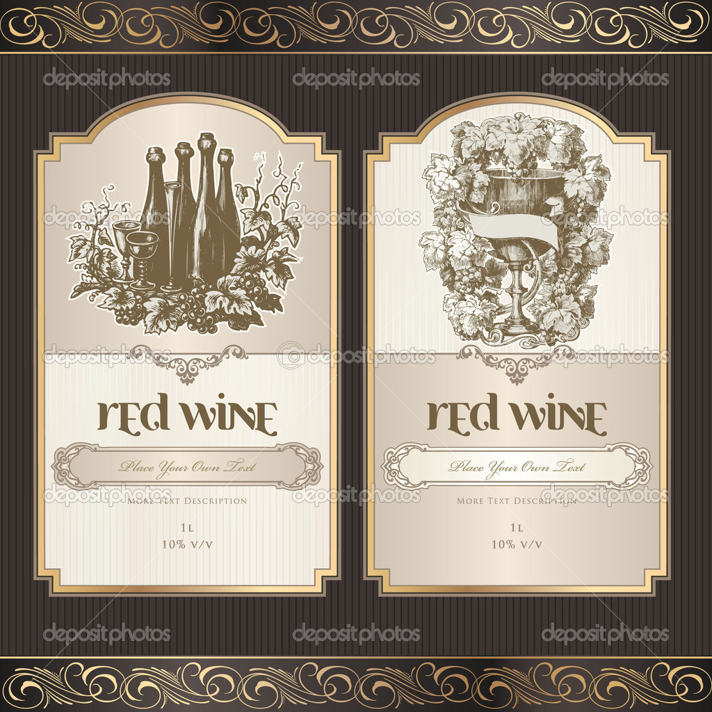 Vector illustration - set of wine label templates — Stock Vector #6686533