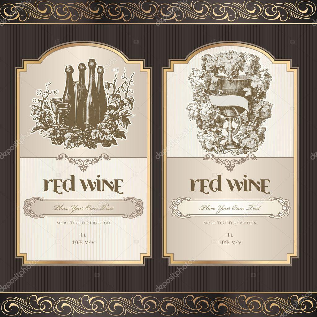 set of wine labels stock vector tanjakrstevska 6686533. Black Bedroom Furniture Sets. Home Design Ideas
