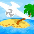 Airplane over a tropical island — Imagen vectorial