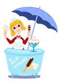 Girl and ice-cream. — Stock Vector
