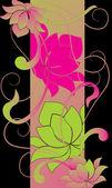 Blommor och vågor 4. — Stockvektor