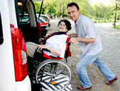 Senior donna in sedia a rotelle — Foto Stock