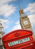 Cabina telefonica rossa e big ben — Foto Stock