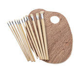 Paint Brushes and Palette — Stock Photo
