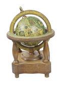 Velho mundo globo de madeira com suporte — Foto Stock