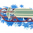 Sled on a Bed of Colorful Snowflakes — Stock Photo