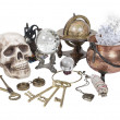 Skull, Keys, Copper Pot, Crystal Ball and other Witch Desk Items — Stock Photo
