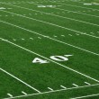 40 Yard Line on American Football Field - Stock Photo