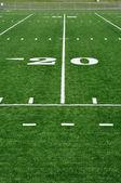 Linea delle 20 yarde sul campo di gioco del calcio americano — Foto Stock