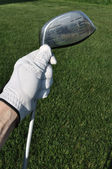 Golfer Holding a Metal Driver — Stock Photo