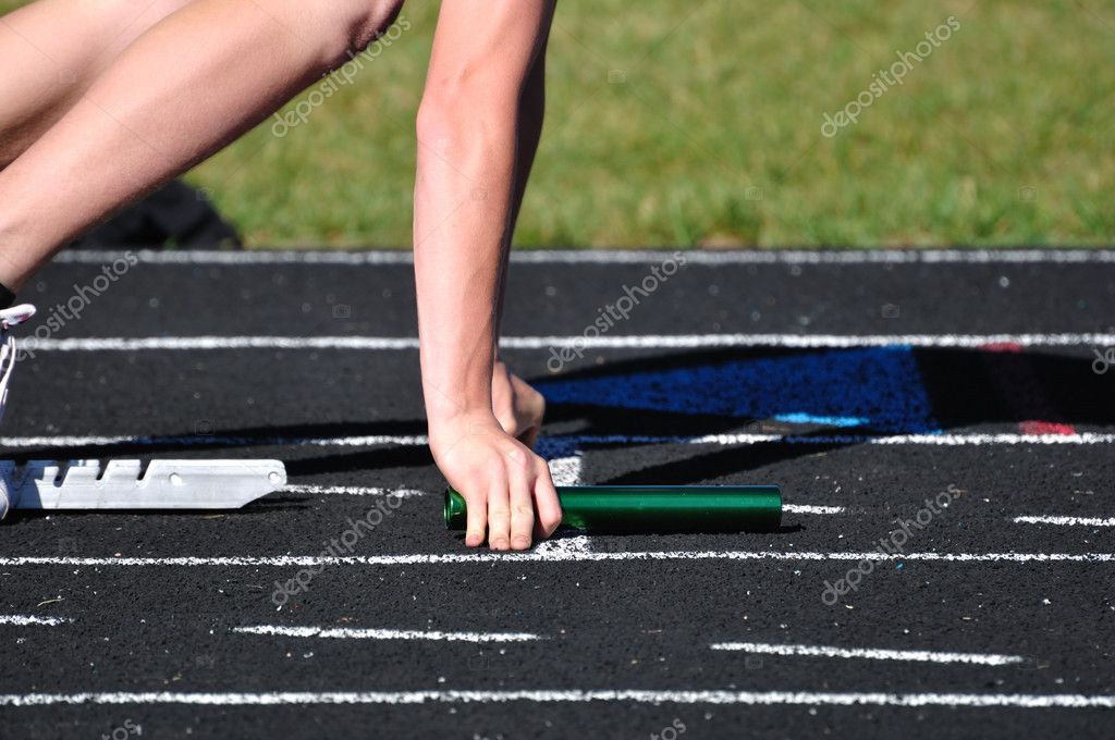 Teen Boy in the Starting Blocks at a Track Meet — Stock Photo #6053254