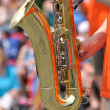 Playing Saxophone in Parade — Stock Photo